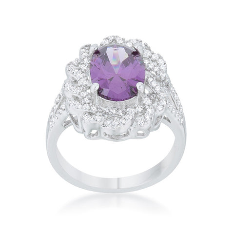 Nagel Amethyst Purple Oval Classic Halo Cocktail Ring  | 9  Carat | Cubic Zirconia - Beloved Sparkles  - 3