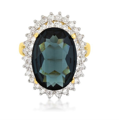 Naola Dark Emerald Green Two Tone Double Halo Cocktail Ring  | 19 Carat | Cubic Zirconia - Beloved Sparkles  - 2