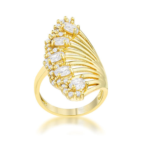 Natalie 14k Gold Art Deco Contemporary Ring | 2.5  Carat |Cubic Zirconia - Beloved Sparkles  - 1