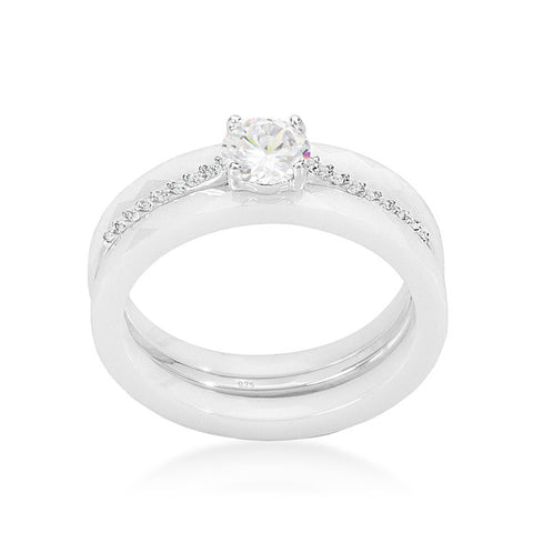 Nikos White Ceramic Three Engagement Ring | .7 Carat | Cubic Zirconia  | Sterling Silver - Beloved Sparkles  - 2