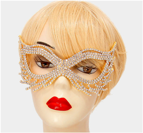 Nohelia Art Deco Modern Masquerade Mask | Gold | Crystal - Beloved Sparkles  - 2
