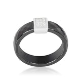 Nuvia Black Ceramic Cocktail  Ring | .2 Carat | Cubic Zirconia  | Sterling Silver - Beloved Sparkles  - 2