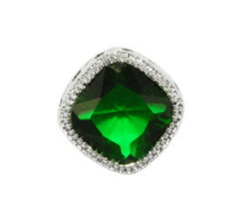 Oleg Emerald Diamond Halo CZ Stud Earrings | Cubic Zirconia | Silver