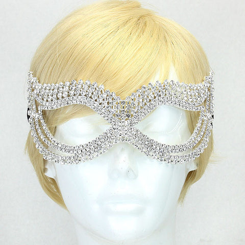 Onatah Classic  Art Deco Crystal Masquerade Mask | Silver | Crystal - Beloved Sparkles  - 2