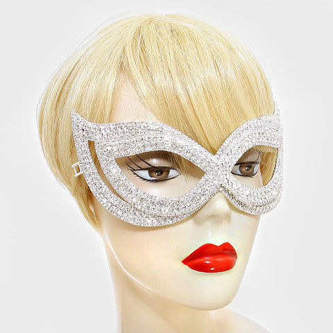 Ondrea Exquisite Double Cat Eye Masquerade Mask | Silver | Crystal - Beloved Sparkles  - 2