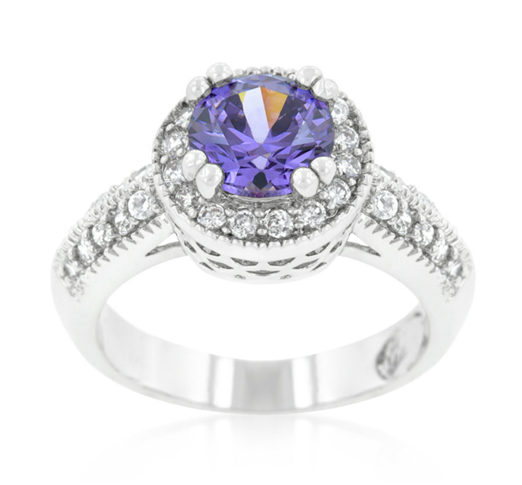 Orene Amethyst Round Halo Engagement Ring | 3ct | Cubic Zirconia - Beloved Sparkles  - 1