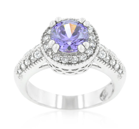 Orene Lt Amethyst Round Halo Engagement Ring | 4ct | Cubic Zirconia - Beloved Sparkles  - 1