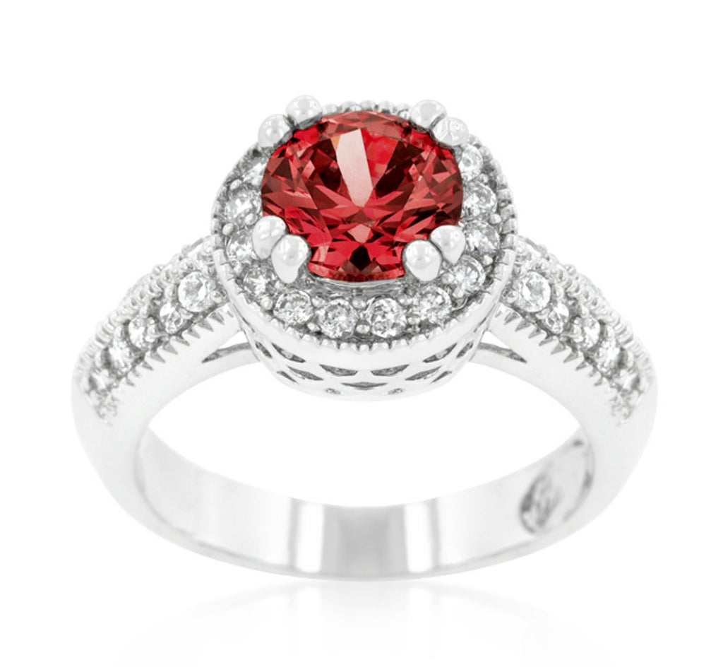 Orene Ruby Round Halo Engagement Ring | 3ct | Cubic Zirconia - Beloved Sparkles  - 1
