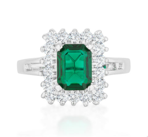Papina Emerald Green Vintage Inspired Halo Cocktail Ring  | 3ct | Cubic Zirconia - Beloved Sparkles  - 2