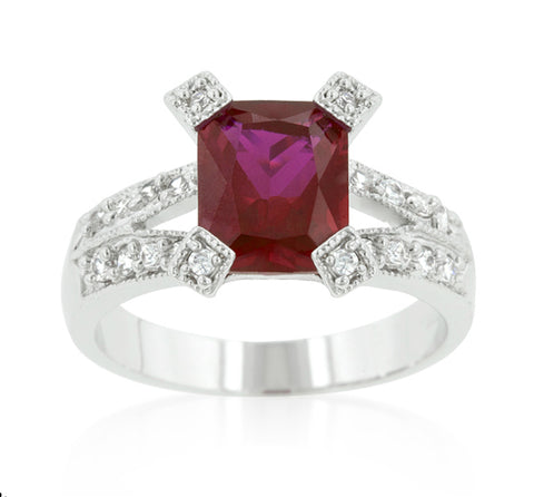 Petrine Radiant Cut Ruby Fashion Ring  | 5.5ct | Cubic Zirconia - Beloved Sparkles  - 2