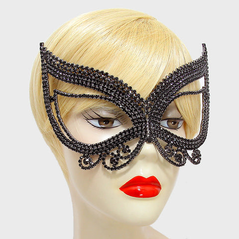 Pirene Exquisite Butterfly Masquerade Mask | Black | Crystal - Beloved Sparkles  - 2