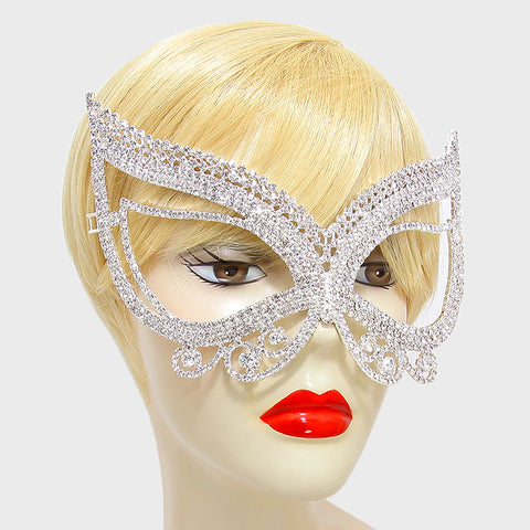 Pirene Exquisite Butterfly Masquerade Mask | Silver | Crystal - Beloved Sparkles  - 2