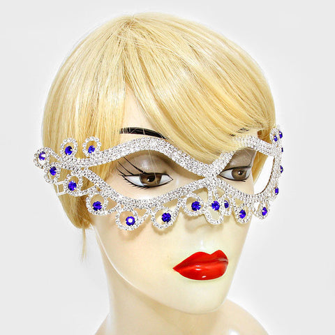 Bahati Swirl Filigree Cat Eye Sapphire Blue Masquerade Mask | Silver | Crystal - Beloved Sparkles  - 2