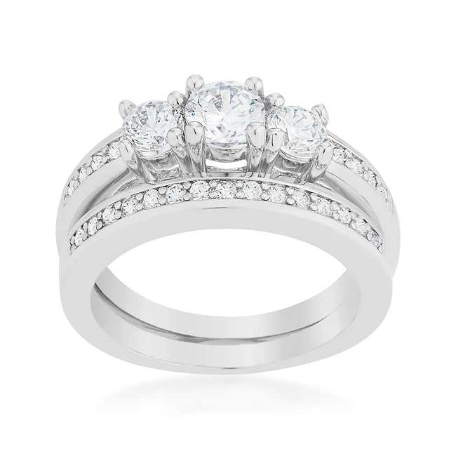 Raquel Three Round Cut Engagement and Wedding Ring Set | 2.2 Carat | Cubic Zirconia - Beloved Sparkles  - 1