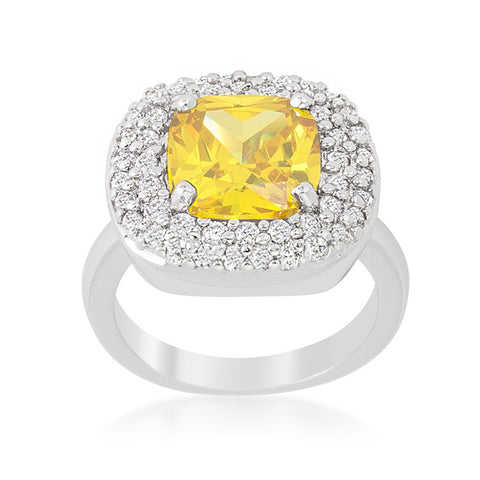 Regina Canary Yellow Cushion Cut Cocktail Ring | 5 Carat | Cubic Zirconia - Beloved Sparkles  - 1