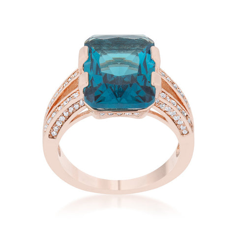 Rema Aqua Blue Emerald Statement Cocktail Ring | 8.6 Carat | Cubic Zirconia - Beloved Sparkles  - 2