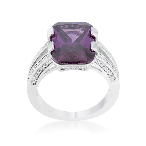 Rema Amethyst Purple Emerald Statement Cocktail Ring | 8.6 Carat | Cubic Zirconia - Beloved Sparkles  - 2