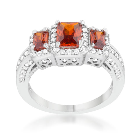 Rita Three Stone Garnet Red Radiant Cut Cocktail Ring | 5 Carat | Cubic Zirconia - Beloved Sparkles  - 3