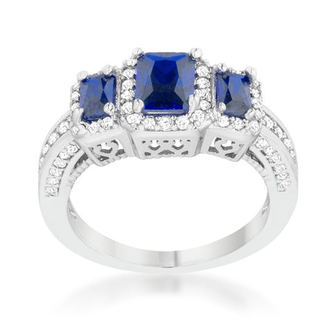 Rita Three Stone Sapphire Blue Radiant Cut Cocktail Ring | 5 Carat | Cubic Zirconia - Beloved Sparkles  - 3