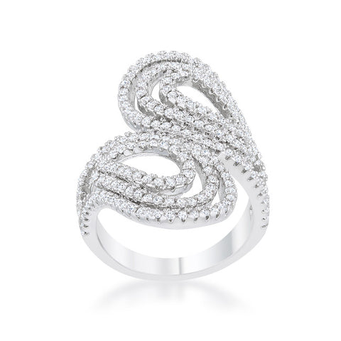 Serina Pave Circle Contemporary Fashion Cocktail Ring | 1.8 Carat | Cubic Zirconia - Beloved Sparkles  - 3