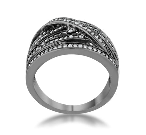 Shirah Hematite Wide Statement Ring | 1ct | Cubic Zirconia | Hematite