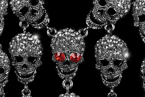 Skulls Cluster Clear Diamond Silver Goth Fashion Necklace | Crystal - Beloved Sparkles  - 2
