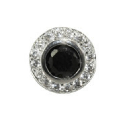 Sohan Black Round  Halo CZ Stud Earrings | Cubic Zirconia | Silver