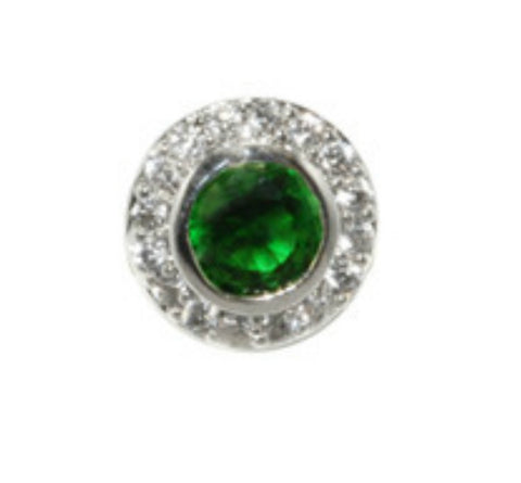 Sohan Emerald Round  Halo CZ Stud Earrings | Cubic Zirconia | Silver