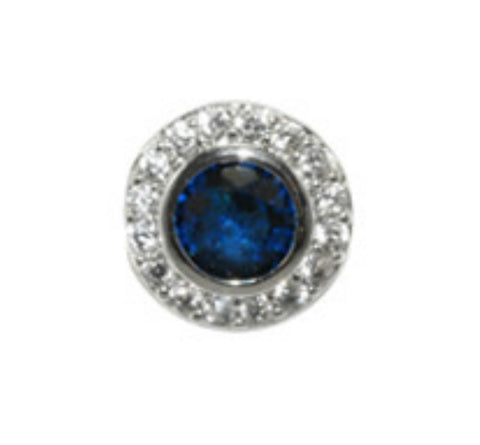 Sohan Sapphire Round  Halo CZ Stud Earrings | Cubic Zirconia | Silver