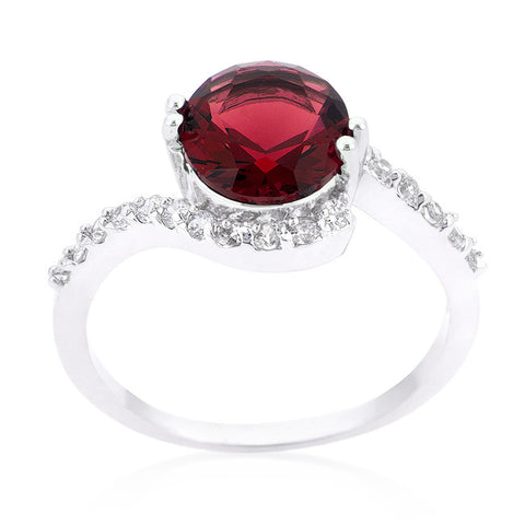 Tapice Ruby Red Round Swirl Engagement Rin g | 3 Carat | Cubic Zirconia - Beloved Sparkles  - 2