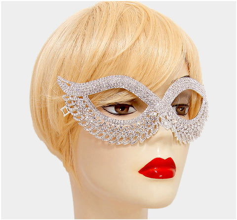 Teri Classic Cat Eye Crystal Silver Masquerade Mask. - Beloved Sparkles  - 2
