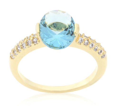 Harla Aqua Blue Oval Cut Gold Ring |2.2ct |Cubic Zirconia | 18k Gold - Beloved Sparkles  - 3