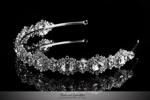 Kylie Oval Cluster Silver Headband | Swarovski Crystal - Beloved Sparkles  - 2