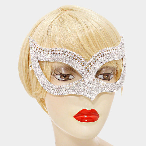 Weslee Statement Cat Eye  Crystal Silver Masquerade Mask. - Beloved Sparkles  - 2