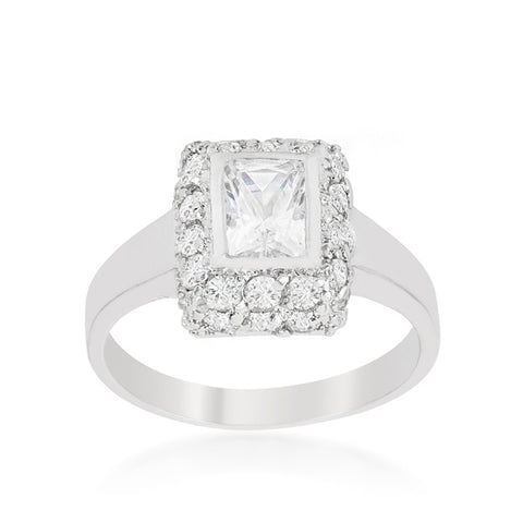 Weslia Radiant  Halo Bezel Engagement Ring | 1.9 Carat | Cubic Zirconia - Beloved Sparkles  - 2