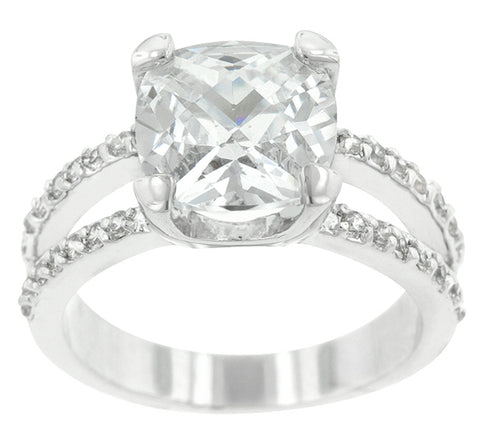 Zandra Cushion Cut Engagement Statement Ring | 6.5 Carat | Cubic Zirconia - Beloved Sparkles  - 1