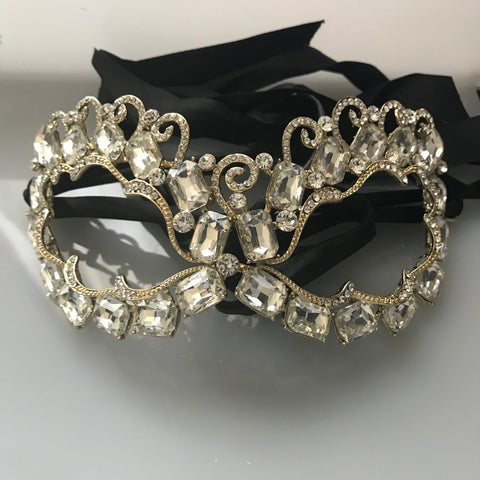 Annika Art Deco Cluster Statement Masquerade Mask | Crystal