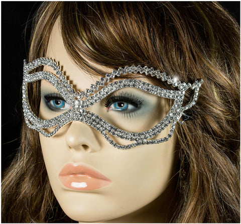 Jessie Wavy Passion Masquerade Mask | Crystal - Beloved Sparkles  - 5