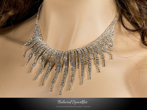Jalila Draping Cluster Bib Necklace Set | Rhinestone - Beloved Sparkles