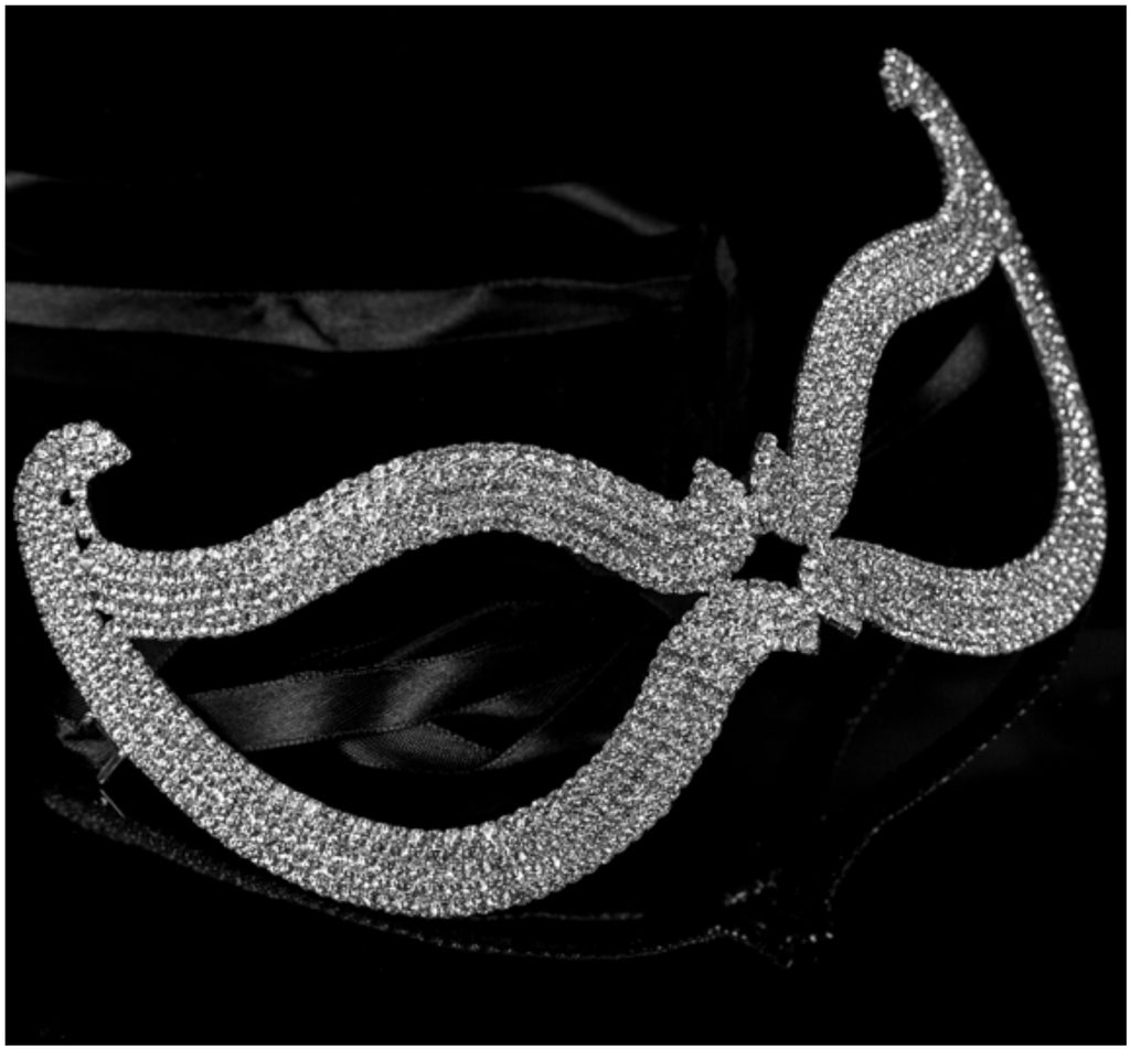 Bijou Romantic Cat Eye Crystal Masquerade Mask | Silver | Crystal - Beloved Sparkles  - 3