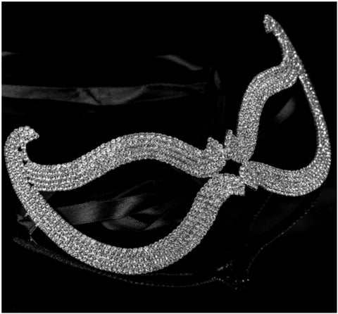 Bijou Romantic Cat Eye Crystal Masquerade Mask | Silver | Crystal