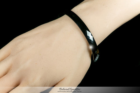 Laurette Black Hematite Ceramic Bangle Bracelet  | Ceramic - Beloved Sparkles  - 3