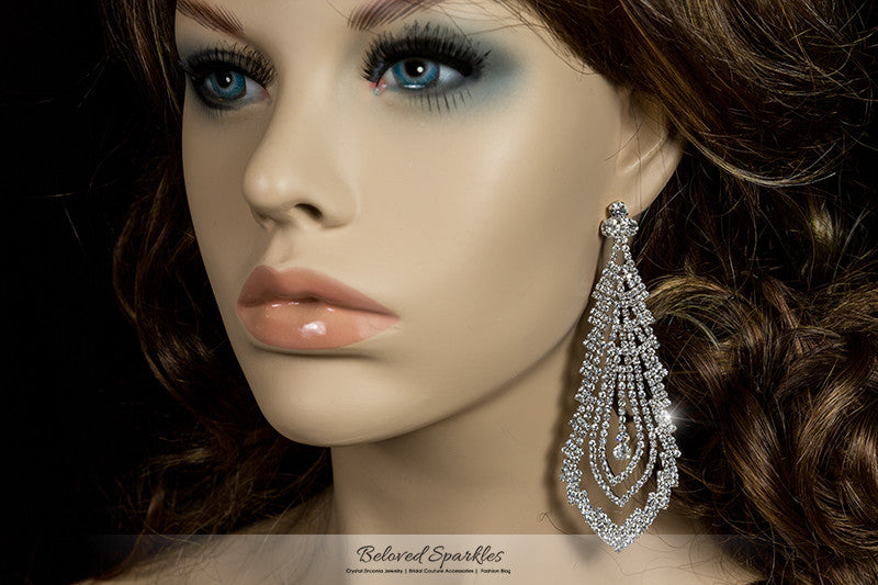 Lorna Cascade Long Chandelier Earrings | Crystal - Beloved Sparkles  - 1