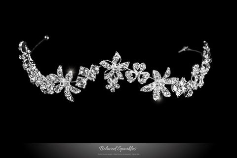 Loretta Flower Forehead Silver Headband | Swarovski Crystal - Beloved Sparkles  - 3
