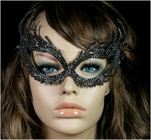 Nadelie Modern Cat Eye Masquerade Mask | Black | Crystal - Beloved Sparkles  - 3