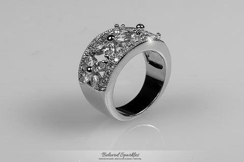 Takala Flower Cluster Cocktail Ring | 5 Carat | Cubic Zirconia - Beloved Sparkles  - 3