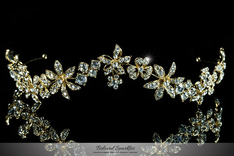 Loretta Flower Forehead Gold Headband| Swarovski Crystal - Beloved Sparkles  - 3