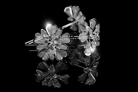 Orlina Large Mesh Flower Hair Stick Pin | Rhinestone - Beloved Sparkles  - 3