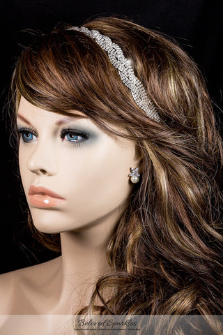 Dicey Rhinestone Twist Braid Stretchable Headband | Rhinestone - Beloved Sparkles  - 3