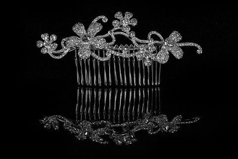 Kathleen Flower Cluster Hair Comb | Swarovski Crystal - Beloved Sparkles  - 3